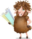 Cartoon Sheep Vector Character - Holding Plans