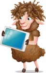 Cartoon Sheep Vector Character - Holding tablet