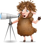 Cartoon Sheep Vector Character - Looking through telescope