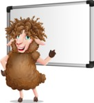 Cartoon Sheep Vector Character - Making a Presentation on a Blank white board