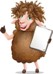 Cartoon Sheep Vector Character - Making thumbs up with notepad