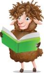 Cartoon Sheep Vector Character - Reading a book