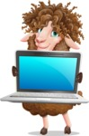 Cartoon Sheep Vector Character - Showing a laptop