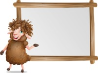 Cartoon Sheep Vector Character - Showing on Big whiteboard