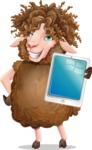 Cartoon Sheep Vector Character - Showing tablet