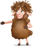 Cartoon Sheep Vector Character - Showing with right hand