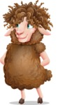 Cartoon Sheep Vector Character - Waiting with hands behind back