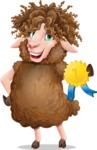 Cartoon Sheep Vector Character - Winning prize