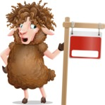 Cartoon Sheep Vector Character - with Blank Real estate sign