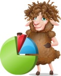 Cartoon Sheep Vector Character - with Business graph