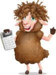 Cartoon Sheep Vector Character - with Calculator