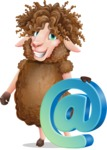 Cartoon Sheep Vector Character - with Email sign