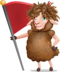 Cartoon Sheep Vector Character - with Flag