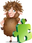 Cartoon Sheep Vector Character - with Puzzle