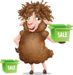 Cartoon Sheep Vector Character - with Sale boxes