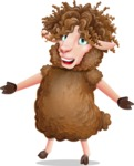 Cartoon Sheep Vector Character - with Stunned face