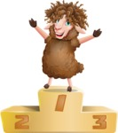 Cartoon Sheep Vector Character - with Success on Top
