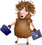 Cartoon Sheep Vector Character - with Two briefcases