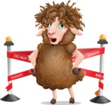 Cartoon Sheep Vector Character - with Under Construction sign