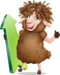 Cartoon Sheep Vector Character - with Up arrow
