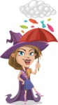 Witch with Hat Cartoon Vector Character - and Candies Raining Concept