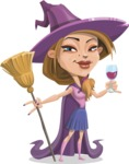 Witch with Hat Cartoon Vector Character - At Night Drinking Glass of Wine