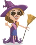 Witch with Hat Cartoon Vector Character - Being Cool Witch