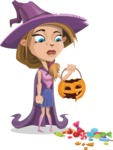 Witch with Hat Cartoon Vector Character - Being Sad With Broken Pumpkin Lantern