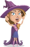 Witch with Hat Cartoon Vector Character - Being Scared