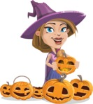 Witch with Hat Cartoon Vector Character - Celebrating Halloween With Pumpkins