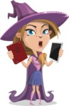 Witch with Hat Cartoon Vector Character - Choosing Between Modern and Oldschool