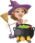 Witch with Hat Cartoon Vector Character - Cooking in a Caldron