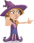 Witch with Hat Cartoon Vector Character - Finger Pointing with Angry Face