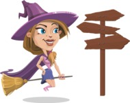 Witch with Hat Cartoon Vector Character - Flying and Choosing a Way