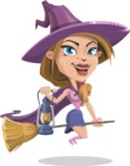 Witch with Hat Cartoon Vector Character - Flying with a Broom