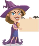 Witch with Hat Cartoon Vector Character - Holding a Blank Halloween Sign