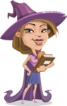 Witch with Hat Cartoon Vector Character - Holding a Book