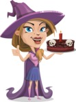 Witch with Hat Cartoon Vector Character - Holding a Halloween Cake