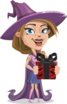 Witch with Hat Cartoon Vector Character - Holding a Halloween Gift