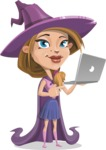 Witch with Hat Cartoon Vector Character - Holding a Laptop
