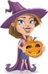 Witch with Hat Cartoon Vector Character - Holding a Pumpkin Lantern