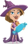 Witch with Hat Cartoon Vector Character - Holding a Treat