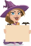 Witch with Hat Cartoon Vector Character - Holding Blank Presentation Sign for Halloween