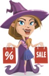 Witch with Hat Cartoon Vector Character - Holding Shopping Bags