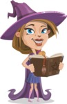 Witch with Hat Cartoon Vector Character - Making a Curse with a Book