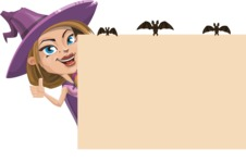 Witch with Hat Cartoon Vector Character - Making a Presentation on a Whiteboard