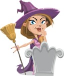 Witch with Hat Cartoon Vector Character - On a Grave