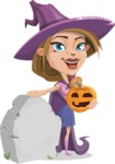 Witch with Hat Cartoon Vector Character - On a Graveyard