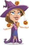 Witch with Hat Cartoon Vector Character - Playing on Halloween