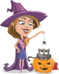 Witch with Hat Cartoon Vector Character - Playing With Cat on Halloween